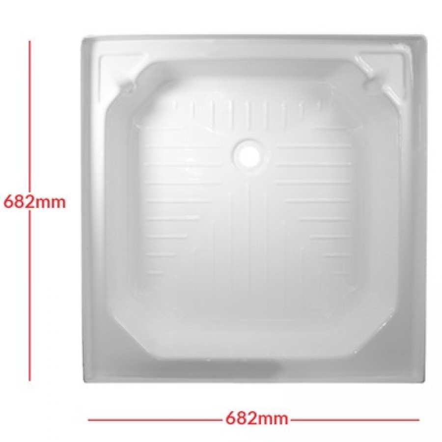Square Plastic Shower Tray In White